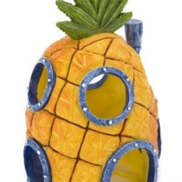 "AQUATICS - ORNAMENTS/DECOR - PINEAPPLE HM W/SWIM THRU HOLE - 7"" SPONGEBOB ORNAMENT - PENN PLAX INC - UPC: 30172071843 - DEPT: AQUATIC PRODUCTS"