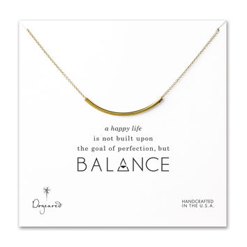 Dogeared, Balance Curved Tube Necklace, Gold Dipped 18 inch