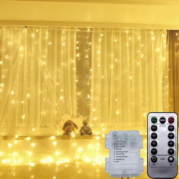YIYANG 3*3M Wireless Remote Control Curtain Light Christmas AA Battery Power Waterproof Icicle Curtain Light Wedding Party Xmas
