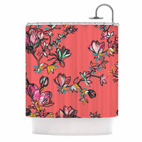 "Victoria Krupp ""Magnolia"" Pink Floral Shower Curtain"