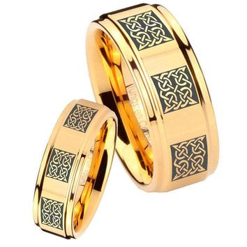 His Her Glossy Step Edges Multipe Square Celtic 14K Gold IP Tungsten Wedding Rings Set