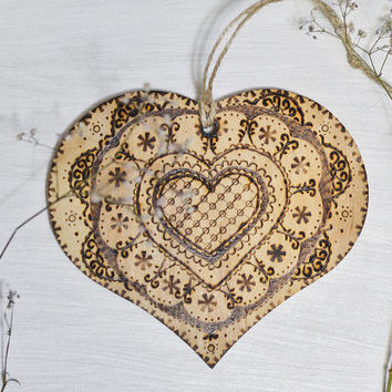 Mehndi Wooden Sign - Heart Shaped Wooden Home Decor  Sign - Heart Valentines Gift - Boho Home Style