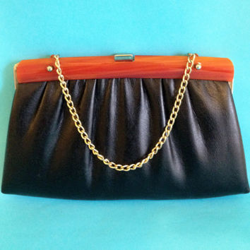 Black Leather Clutch with Plastic Amber Handle by ModernFiction