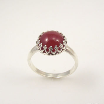 Victorian Sterling Silver Carnelian Ring, Ornate Silver Ring, Filigree Ring, Size 8