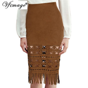 Vfemage Womens Tassel Sexy Elegant Vintage Hollow-Out Geometry High Waist Chic Fashion StreetWear Casual Party Pencil Skirt 4640
