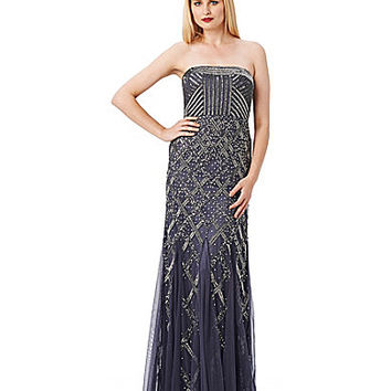 Adrianna Papell Art Deco Beaded Gown - Gunmetal