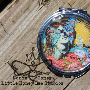 Compact Pocket Mirror - Beauty - Mixed Media Art