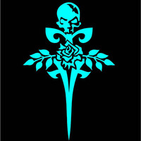 Gothic Rose Skull Floral Sword Decal Gothic Decal Custom Vinyl Computer Laptop Car auto vehicle window decal custom sticker Decal