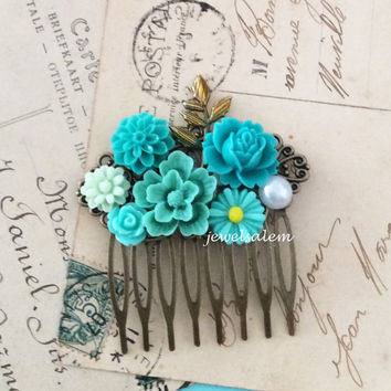 Teal Wedding Hair Comb Turquoise Bridal Hair Piece Head Pin Seafoam Aqua Blue Mint Floral Flower Bridesmaid Hair Comb Gift Maid of Honor