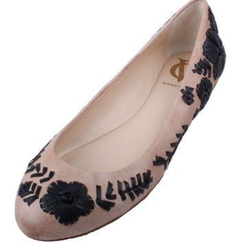 Vince Camuto VI-Amaretto Signature Series Women's Toasted Almond/Black Leather Ballet Flats