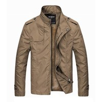 Men's Fashion Outwear Lined Thick Warm Stand Collar Solid Color Slim Jacket