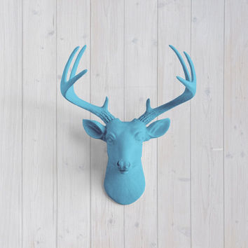 The MINI Virginia Lake Blue Faux Taxidermy Resin Deer Head Wall Mount | Lake Blue Stag w/ Colored Antlers
