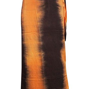 Bohemian Wrap Skirts Tie-dye Black/Yellow Wrap Around Gypsy Maxi Long Skirts