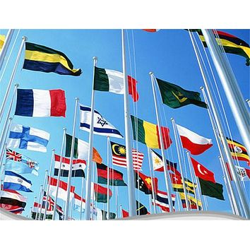 90 * 150 cm National flag Various countries in the world Polyester banner flag