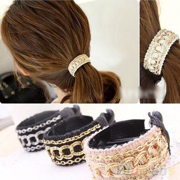 2016 Fashionable Luxury Cute Women Gold Chain Hair Clip Hair Barrette Ponytail Holder  8O94