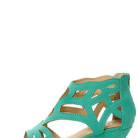 Bamboo Matthew 02 Sea Green Cutout Wedge Sandals