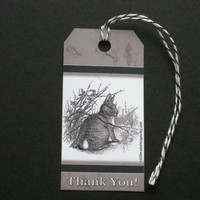 5 Die Cut  Rabbit Thank You Tags