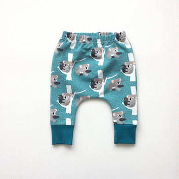 Petrol baby infant harem pants with koala bears. Slim fit harem pants with cuffs. Blue sweat fabric.  Infant sweat pants