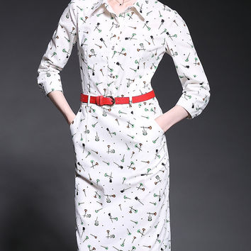 White Printed Shirt Collar Long Sleeve Drawstring Pockets Belted Midi Pencil Dress