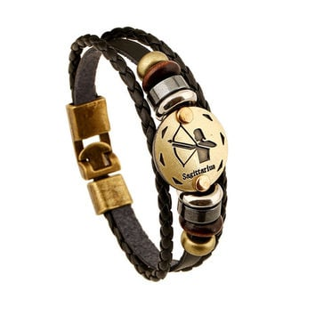 12 Constellations Leather Jewelry Fashion Bracelets&bangles Men Punk alloy personality vintage Bracelet s&bangles Jewelry