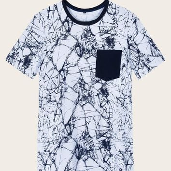 Men Texture Print Contrast Pocket Tee