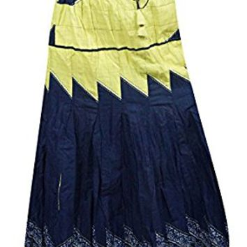 Mogul Womens Long Skirts Blue Printed Gypsy Flared Boho Hippie Festive Maxi Skirts