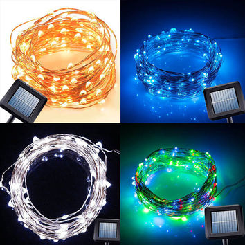 Solar Power String Light 10M 100 Led Copper Wire String Fairy Light For Outdoor Living Decoration Garden