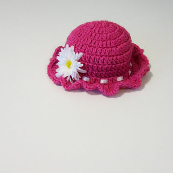 Rose sunhat with white ribbon accent and removable daisy flower clip, rose sunhat, baby sunhat, crochet baby hat, baby hat with flower