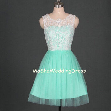 Custom Lovely Strapless Square Short  White Lace Mint green Tulle Bridesmaid /Homecoming /Prom Dress Evening Dress Party Dress Wedding Dress