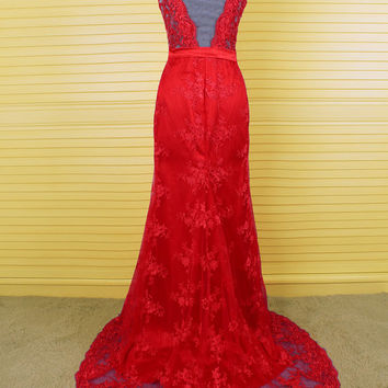 Pageant red lace V-neck mermaid prom dress,Elegant sweep train evening dress,Sexy sheer back applique long bridal dress, Party dress  DP068