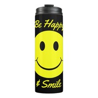 Yellow Smiley Face Be Happy and Smile Thermal Tumbler
