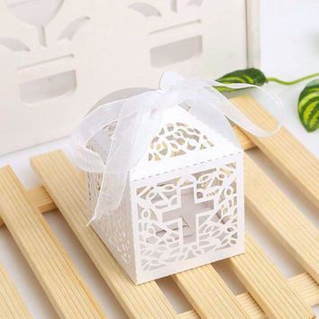 50pc Cross Candy Boxes Angel Gift Box For Baby Shower Baptism Birthday First Communion Christening Party Favor Bag 5x5x8cm