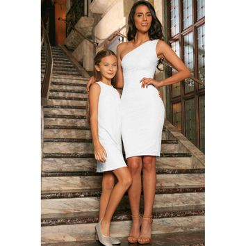 White Stretchy Lace Sleeveless Stunning Fancy Mother Daughter Dress