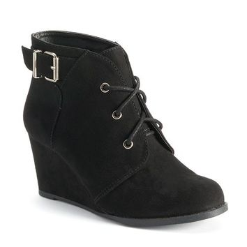 SO Women's Lace-Up Wedge Boots