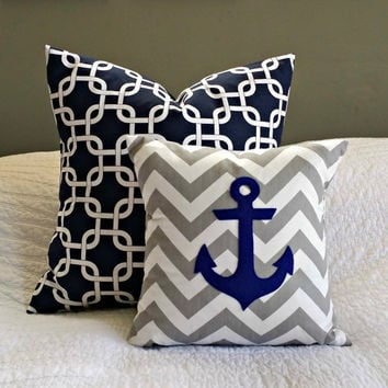 Grey Chevron with Navy Anchor Pillow Cover - Nursery/Kid Sized - 14x14