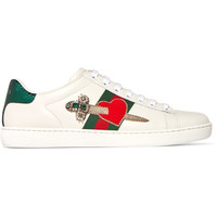 Gucci - Appliquéd embellished leather sneakers