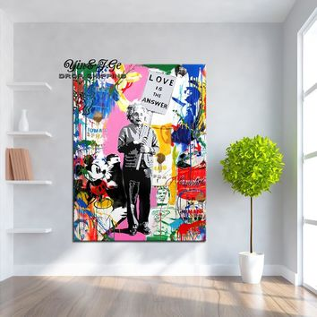 "Wall Art Paintings 1 Piece Banksy Art ""Love Is The Answer"" Canvas Colorful Graffiti Street Artwork A Man Holding A Sign Pictures"
