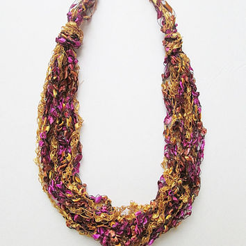 Trellis Yarn Necklace, Ribbon Yarn Necklace, Ladder Yarn Necklace, Yarn Necklace, Gold And Raspberry
