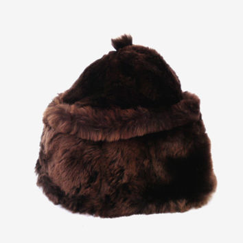Soviet vintage rabbit fur hat women fur hat authentic USSR rabbit hat chcolate brown warm winter hat gift for women lumberjack autumn hat