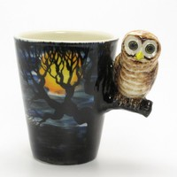 Dark Night Owl Mug 0004 Ceramic Stoneware Coffee Mug Cup Handmade Art