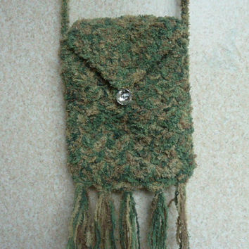 Crochet Purse  - Sparkle Green Crossbody Bag Lined With Button Closure
