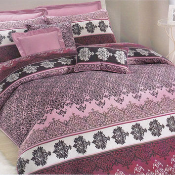 Moroccan Bedding Set in Powder Pink, Dusty Pink, Burgundy, Wine for Queen, Double or Full – 3-piece Set of Duvet Cover & Pillow Cases
