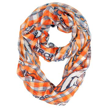 Denver Broncos Scarf Infinity Style Plaid Design