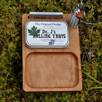 Cherry Marijuana Rolling Tray, Weed Rolling Tray. Tabacco Rolling Kit: storage tin, papers, scissors, baggie, stickers, stuffer.