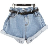 Fashion tall waist jean shorts,hot pants