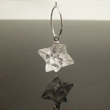 US Free Ship Natural Clear Crystal 8 Points Merkabas 925 Sterling Silver Earring - 1Pair