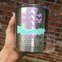 Mawmaw / Grandma / Mom / Mother's Day Gift Decal - Perfect for Yetis , RTIC, Cars, Laptops , Glasses and SO Much More! Cross Decal Chevron