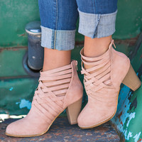 Walk My Way Basket Weave Booties (Blush)