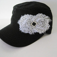 Black Cadet Army Hat with White and Black Polka Dot Shabby Chiffon Flowers and Black Rhinestone Accent Hats Accessories