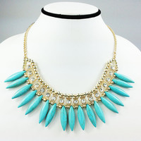 Turquoise Cluster Necklace,Fanned Spike Beads Statement Necklace,Bohemian Necklace